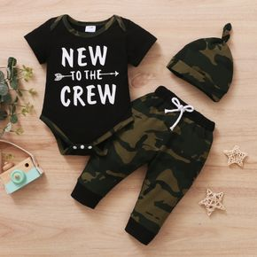3pcs Letter and Camouflage Print Short-sleeve Black Baby Set