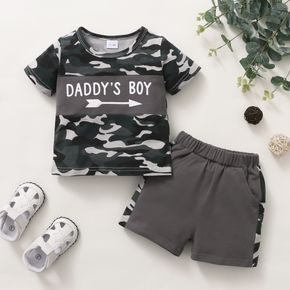 2-piece Toddler Boy Letter Print Camouflage T-shirt and Elasticized Shorts with Pocket Set