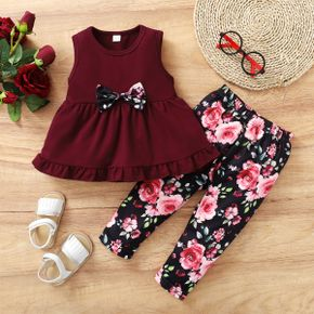 2-piece Toddler Girl Bowknot Decor Solid/ Floral Print Ruffle Sleeveless Top and Elasticized Pants Set