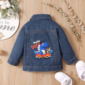 Dinosaur and Letter Print  Button Front Denim Long-sleeve Baby Coat Jacket