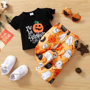 Baby 2pcs Halloween Letter and Pumpkin Print Short-sleeve T-shirt and Flared Pants Set