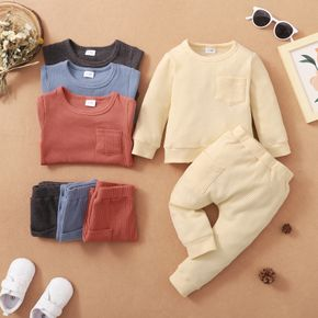 Baby 2pcs Cotton Waffle Solid Long-sleeve Pullover Set