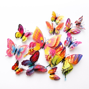 12 Pcs Double Layer Flexible Butterfly Wall Decor-Multicolor