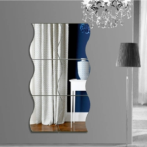 "6 PCS ""S"" Wave Design Mirror Decor  Wall Decor"