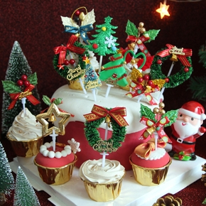 3PCS Merry Christmas Cake Topper Cupcake Toppers Muffin Santa Claus Christmas Tree Snowman Cute Fruit Cake Picks Xmas Supplies