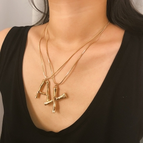 Big Letters Script Name Initial Alphabet Pendant Necklace Luxury Exaggerated Metal Letter Gold Chain Charm Necklace