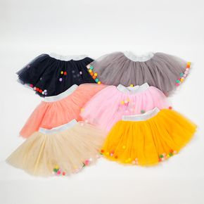 Toddler Girl Colorful Ball Mesh Skirt
