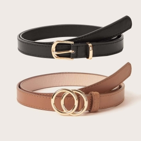 Gold Double Circle Square Buckle Combination Suit Belt Big Double Ring Circle Metal Buckle Belt Wild Waistband Ladies Wide Leather Straps Belts for Leisure Dress Jeans