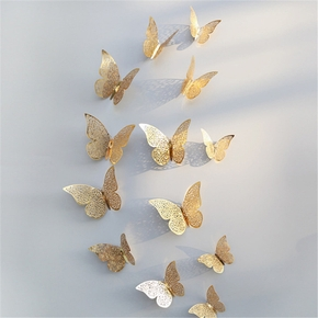 12-piece 3D Hollow out Butterfly Design Wall Sticker Decoration living room window Home Decor Gold silver