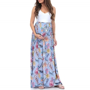 Stylish Floral Printed Sleeveless Maternity Maxi Dress