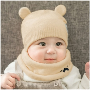 2-piece Baby / Toddler Adorable Bear Print Warm Hat and Scarf Set