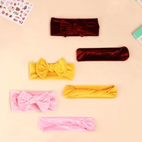 Velvet Solid Bowknot Headbands for Mommy and Me