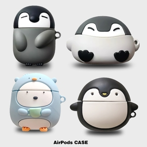 Cute 3D Penguin Case for Apple Airpods Pro Earphone Protective Cover Wireless Bluetooth Headset Shell Suitable for Airpods 1 2