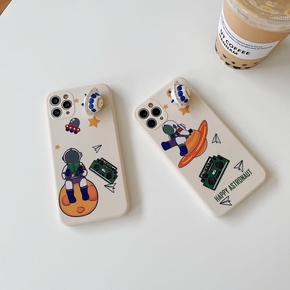 Spacecraft Landing Cute Astronaut Phone case For iPhone 12 Pro Max 12 11 Pro MAX X XS XR 7 8 plus UFO Silicone Cover