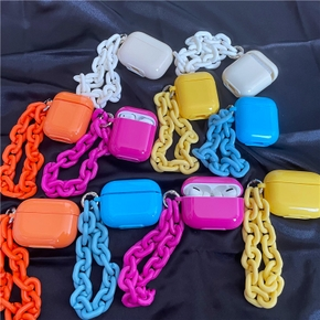 Chain Candy Fluorescent Color Airpods pro Protective Cover for Airpods 1 2 Silicone Earphone Shell