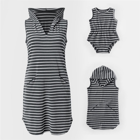 Hooded Striped Tank Dresses for Mommy and Me