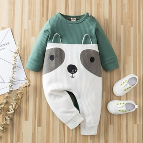 Ribbed Dog Print 3D Ear Design Long-sleeve Green Baby Jumpsuit