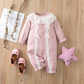 100% Cotton Lace Neckline Long-sleeve Ribbed Pink Baby Jumpsuit