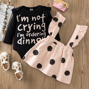 2pcs Letter and Dots Long-sleeve Baby Set