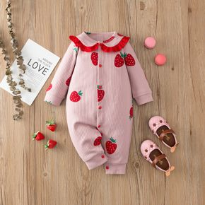 100% Cotton Strawberry Print Long-sleeve Ribbed Pink Baby Jumpsuit