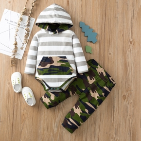 100% Cotton 2pcs Camou and Stripe Print Hooded Long-sleeve Baby Set