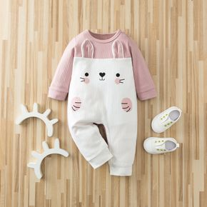 Ribbed Bunny Print 3D Ear Design Long-sleeve Pink Baby Jumpsuit