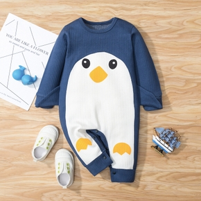 100% Cotton Penguin Long-sleeve Ribbed Baby Jumpsuits