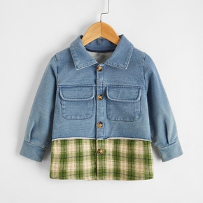 Baby Unisex Avant-garde Denim Stitching Plaid Coat & Jacket