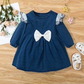100% Cotton Solid Long-sleeve Bowknot Baby Dress