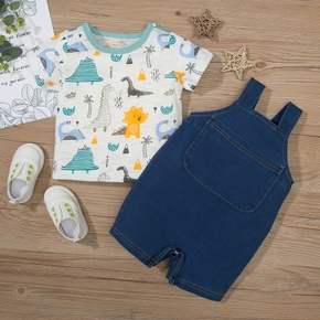 2pcs Baby Boy casual Animal Dinosaur Cotton Top Solid Jumpsuit Baby's Sets