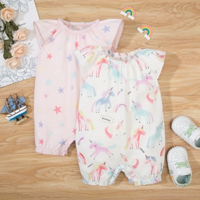 100% Cotton Unicorn and Stars Print Flutter-sleeve Baby Romper