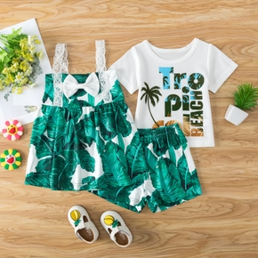 3pcs Baby Boy&Girl Leaf Letter Print Casual Baby's Sets