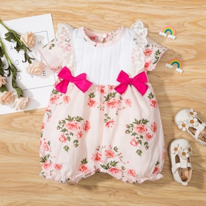 Baby Floral Print Bow Lace Flutter-sleeve Romper