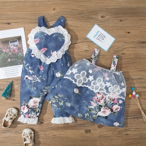 2pcs Baby Unisex Heaet-shaped Ruffled Floral Print Jumpsuit and Dress