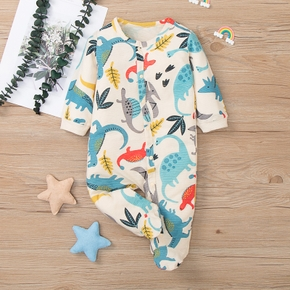 100% Cotton Dinosaur Print Footed/footie Long-sleeve Champagne Baby Jumpsuit