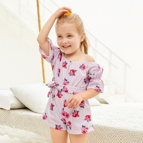 Toddler Girls Striped Floral Print Bow Romper