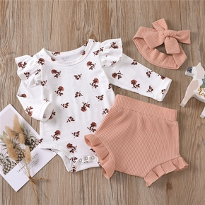 3-pcs Baby Girl Sweet Floral Baby's Sets Fashion Autumn Long Sleeve Romper Tops Pants Headband