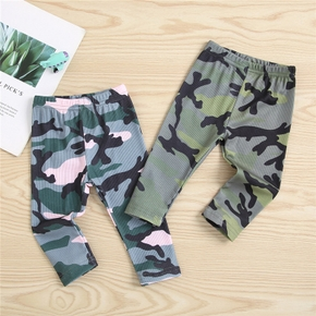 Camouflage Print Ribbed Fabric Baby Trouser