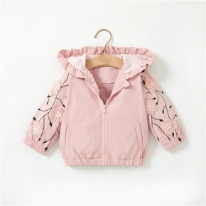 Solid Pink 3D Flower and Leaf Print Long-sleeve Baby Coat Jacket