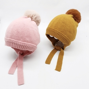 Baby / Toddler Trendy Solid Knitted Pompon Tie-up Hat