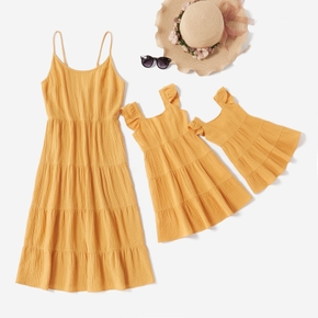 100% Cotton Solid Color Matching Yellow Midi Dresses
