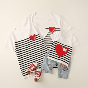 Love Pattern Striped Family Matching Cotton T-shirts