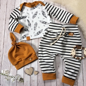 3-piece Long Sleeve Striped Baby Cotton Outfit
