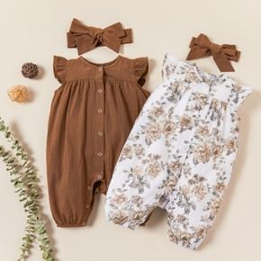 Baby / Toddler Solid Floral Flutter-sleeve Bodysuit and Headband Set