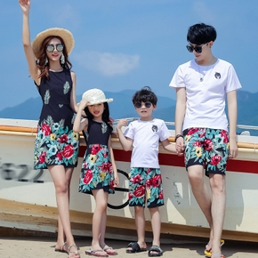 Summer New Family Matching Floral Dresses Tees