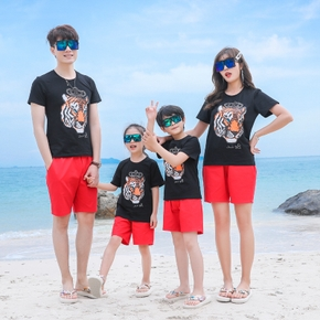 Summer New Family Matching Lion Top Red Shorts Sets