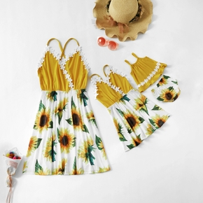 Sunflower Print Matching Stitching Sling Mini Dresses