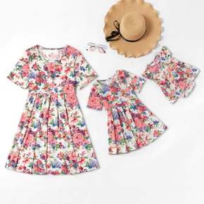 Mosaic Mommy and Me Full Floral Short-sleeve Dress Sister Romper