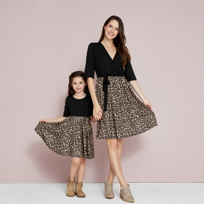 Mosaic Leopard V-neck Bowknot Dresses for Mommy and Me