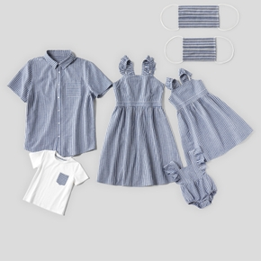 Mosaic 100% Cotton Blue and White Stripe Family Matching Sets